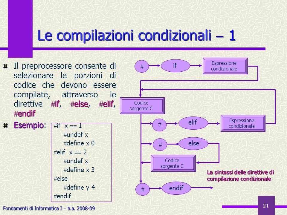 Fondamenti di Informatica I a.a. 2008-09 21 Le compilazioni condizionali 1 if else elif endif Il preprocessore consente di selezionare le porzioni di