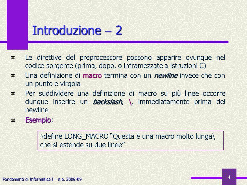 Fondamenti di Informatica I a.a. 2008-09 4 Introduzione 2 Le direttive del preprocessore possono apparire ovunque nel codice sorgente (prima, dopo, o