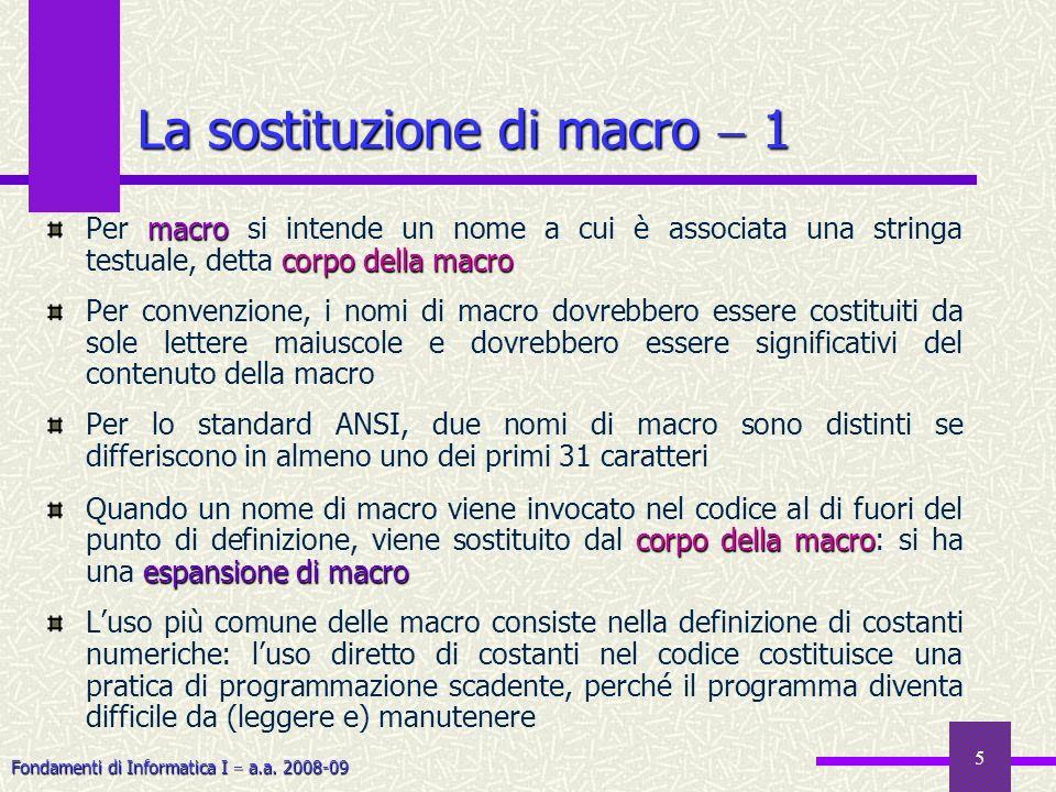 Fondamenti di Informatica I a.a. 2008-09 5 La sostituzione di macro 1 macro corpo della macro Per macro si intende un nome a cui è associata una strin