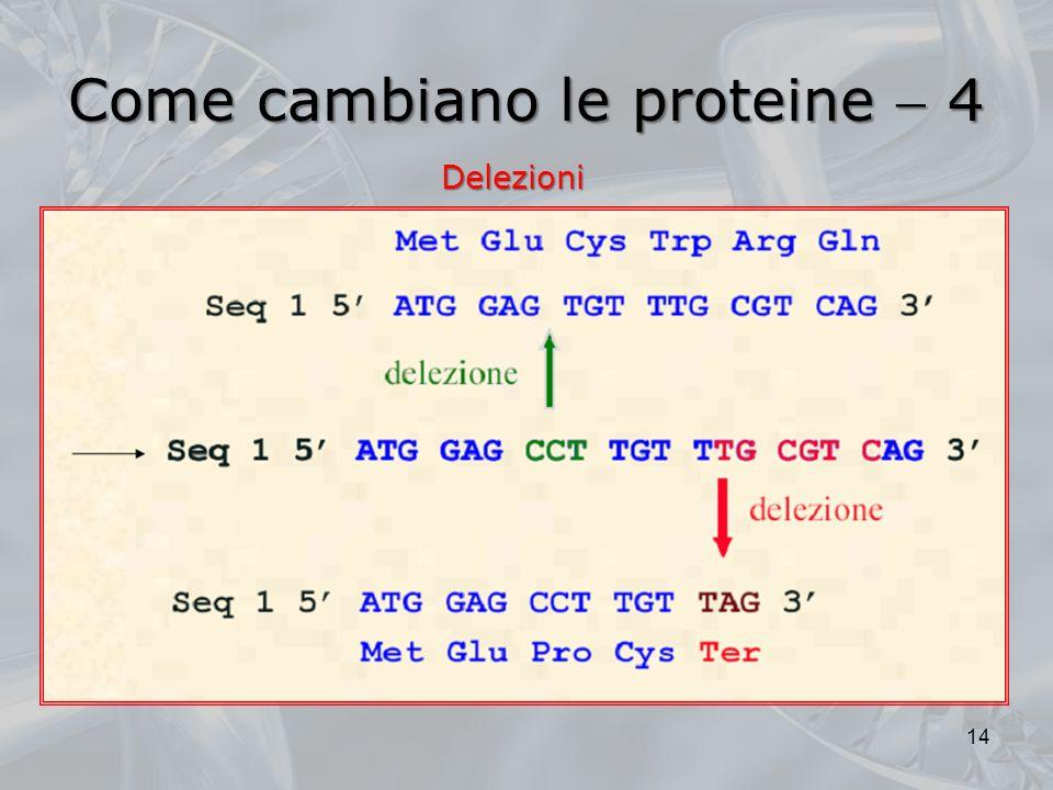 Come cambiano le proteine 4 14 Delezioni