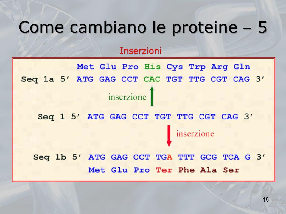 Come cambiano le proteine 5 15 Inserzioni