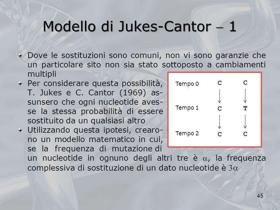 Modello di Jukes-Cantor 1 Per considerare questa possibilità, T.