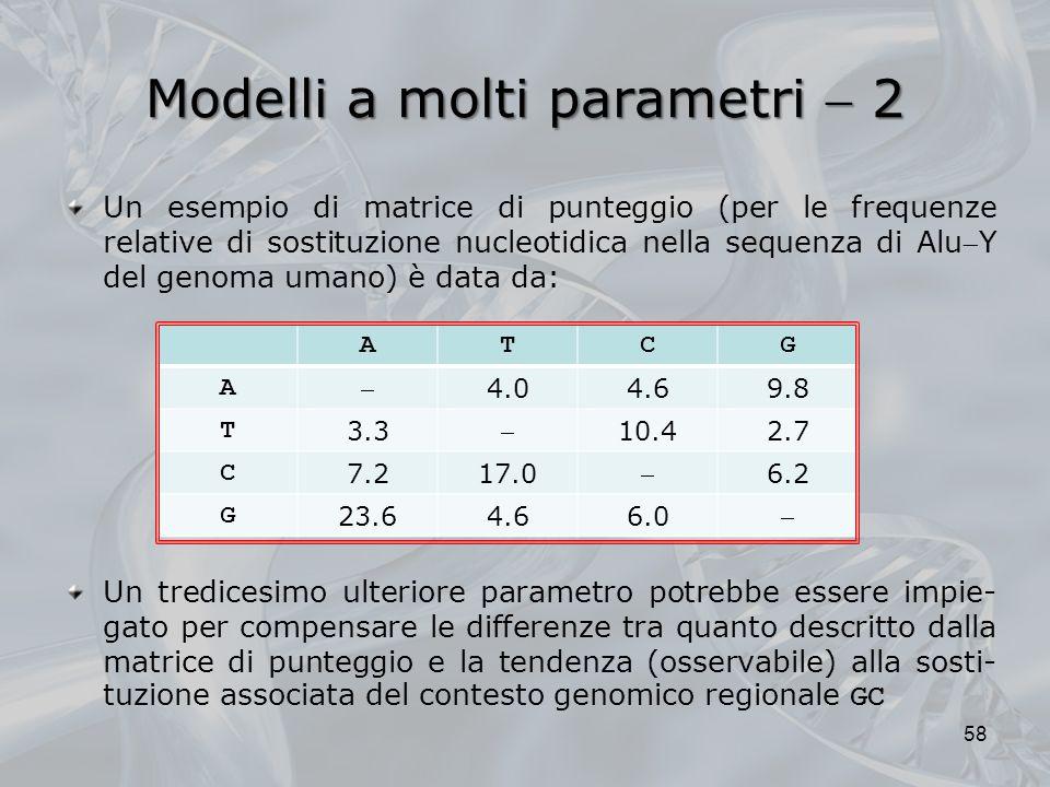 Modelli a molti parametri 2 58 Un esempio di matrice di punteggio (per le frequenze relative di sostituzione nucleotidica nella sequenza di AluY del genoma umano) è data da: Un tredicesimo ulteriore parametro potrebbe essere impie- gato per compensare le differenze tra quanto descritto dalla matrice di punteggio e la tendenza (osservabile) alla sosti- tuzione associata del contesto genomico regionale GC ATCG A 4.04.69.8 T 3.3 10.42.7 C 7.217.0 6.2 G 23.64.66.0