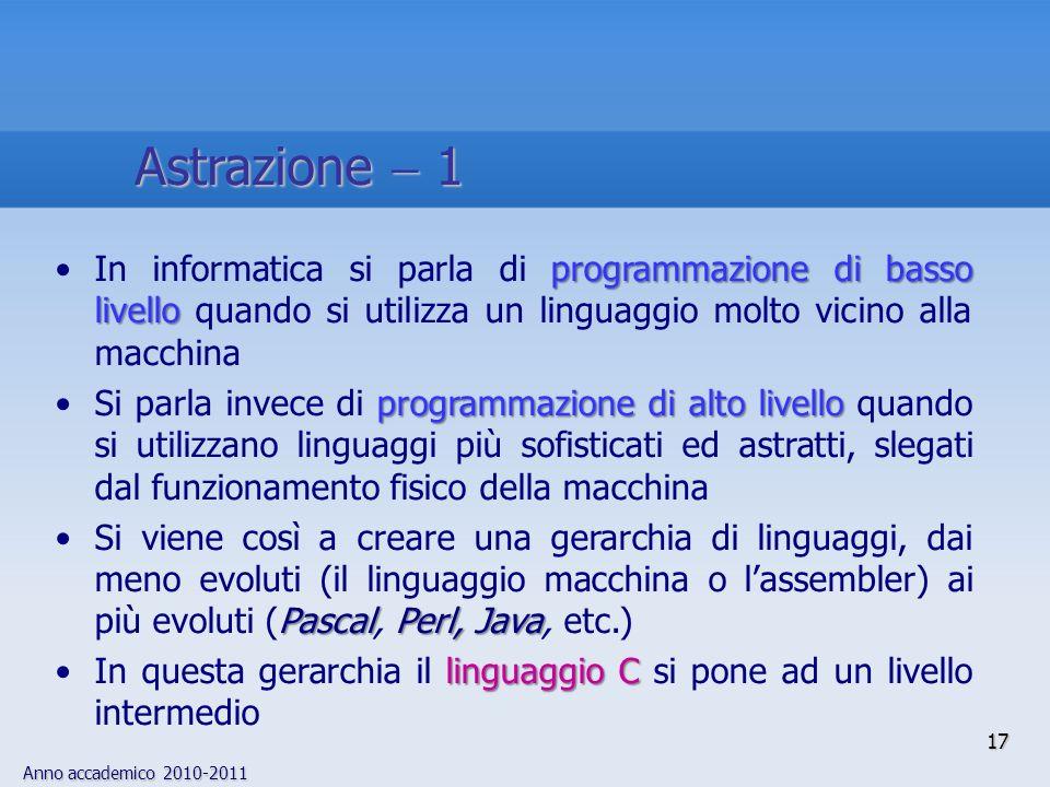 Anno accademico 2010-2011 17 Astrazione 1 programmazione di basso livelloIn informatica si parla di programmazione di basso livello quando si utilizza