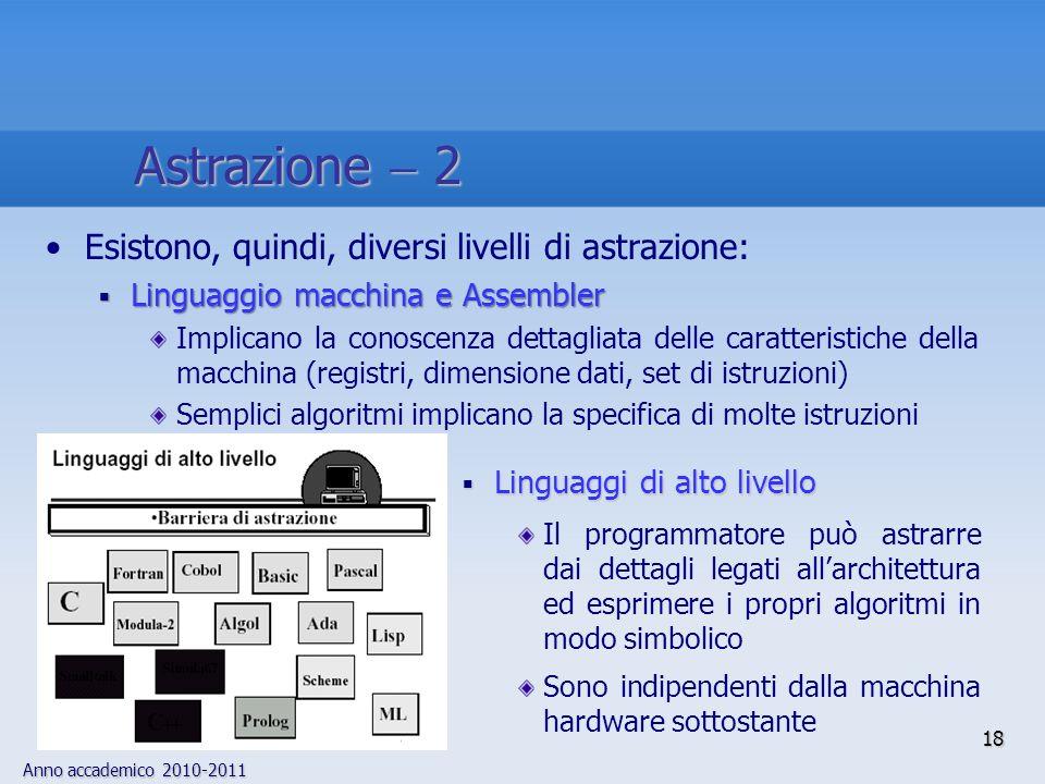 Anno accademico 2010-2011 18 Astrazione 2 Esistono, quindi, diversi livelli di astrazione: Linguaggio macchina e Assembler Linguaggio macchina e Assem
