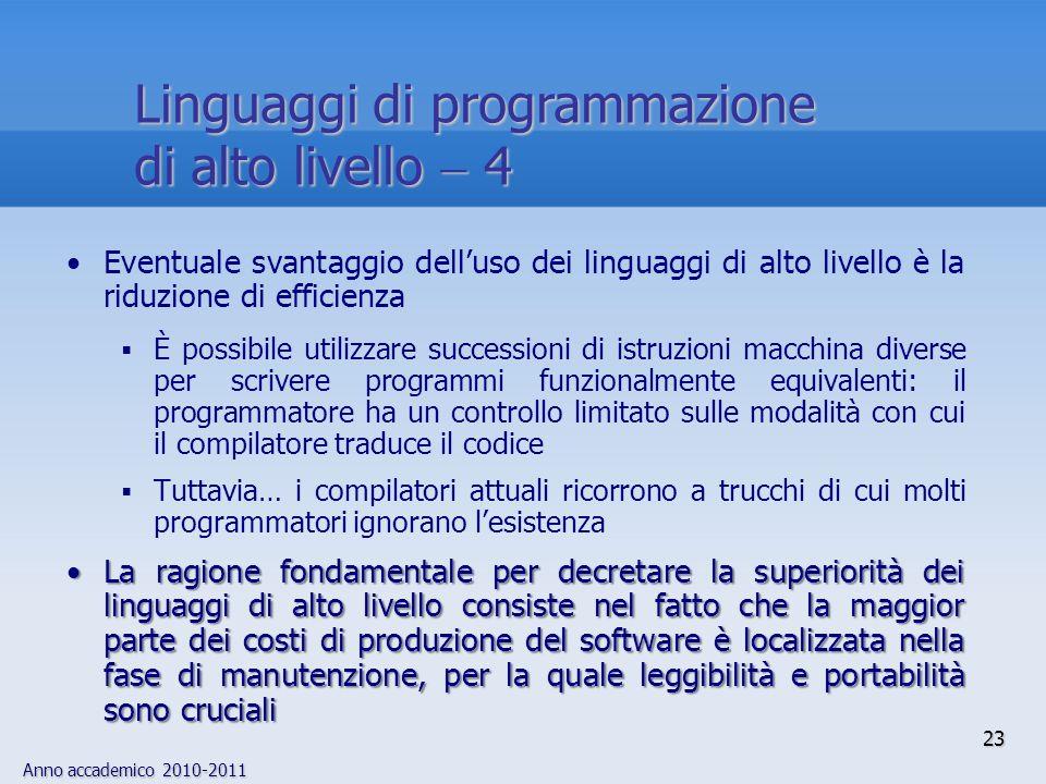 Anno accademico 2010-2011 23 Linguaggi di programmazione di alto livello 4 Eventuale svantaggio delluso dei linguaggi di alto livello è la riduzione d
