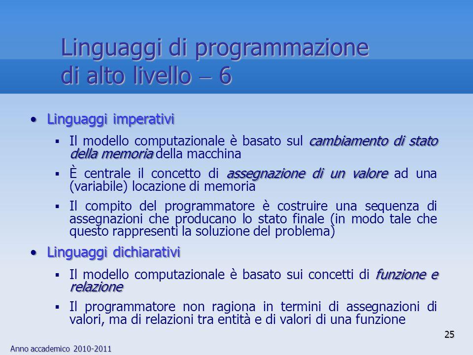 Anno accademico 2010-2011 25 Linguaggi di programmazione di alto livello 6 Linguaggi imperativiLinguaggi imperativi cambiamento di stato della memoria