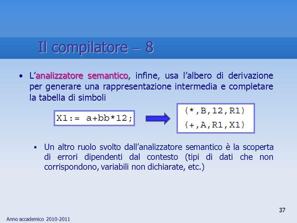 Anno accademico 2010-2011 37 Il compilatore 8 analizzatore semanticoLanalizzatore semantico, infine, usa lalbero di derivazione per generare una rappr