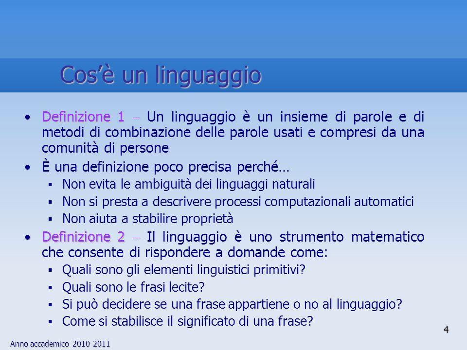 Anno accademico 2010-2011 4 Cosè un linguaggio Definizione 1Definizione 1 Un linguaggio è un insieme di parole e di metodi di combinazione delle parol