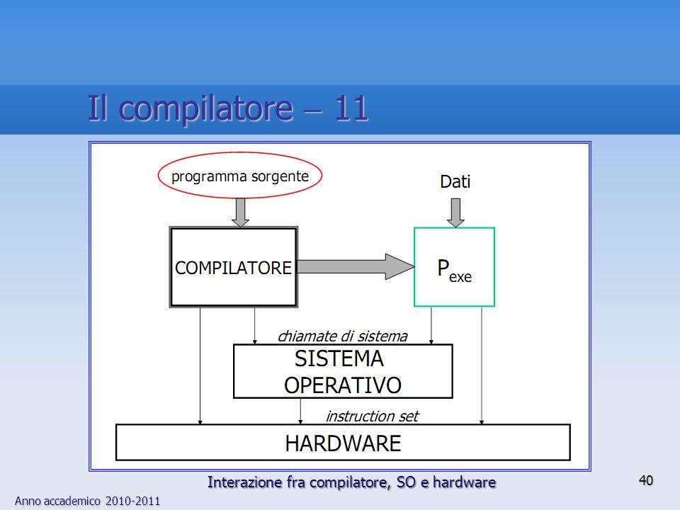 Anno accademico 2010-2011 40 Il compilatore 11 Interazione fra compilatore, SO e hardware