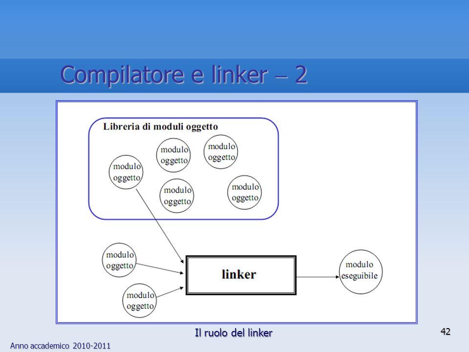 Anno accademico 2010-2011 42 Compilatore e linker 2 Il ruolo del linker