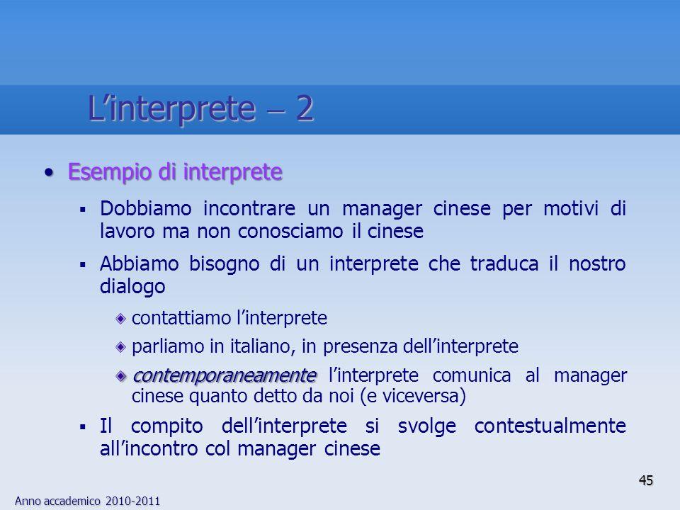 Anno accademico 2010-2011 45 Linterprete 2 Esempio di interpreteEsempio di interprete Dobbiamo incontrare un manager cinese per motivi di lavoro ma no