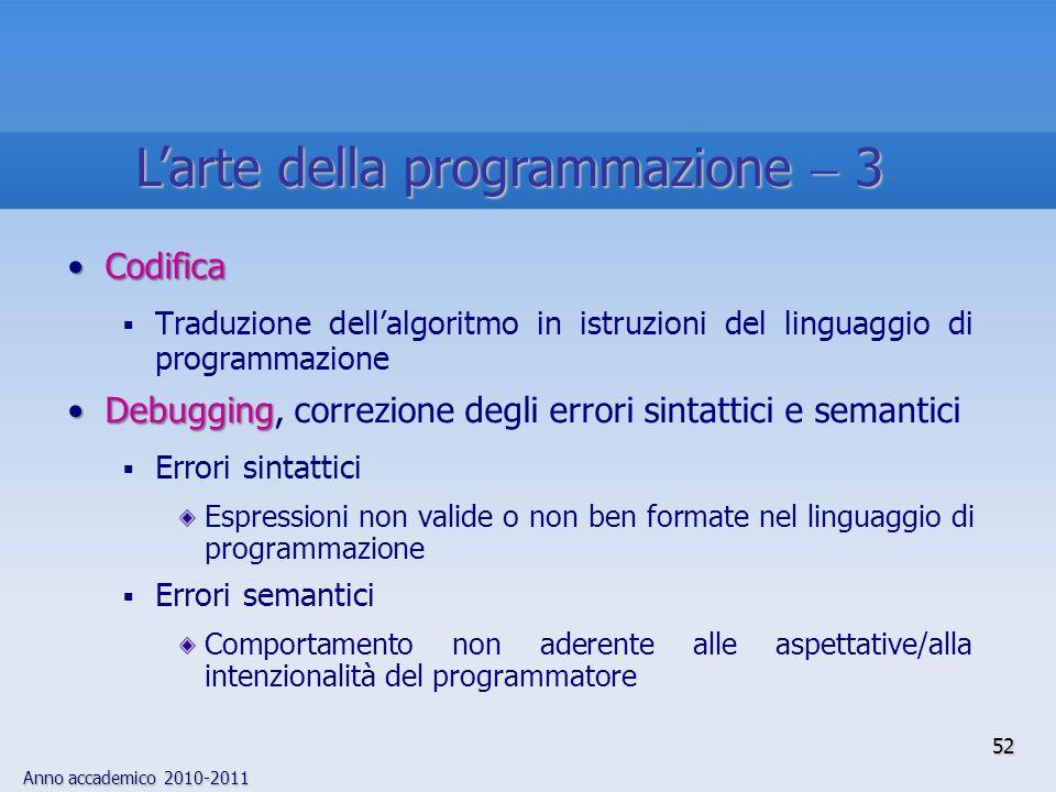 Anno accademico 2010-2011 52 Larte della programmazione 3 CodificaCodifica Traduzione dellalgoritmo in istruzioni del linguaggio di programmazione Deb