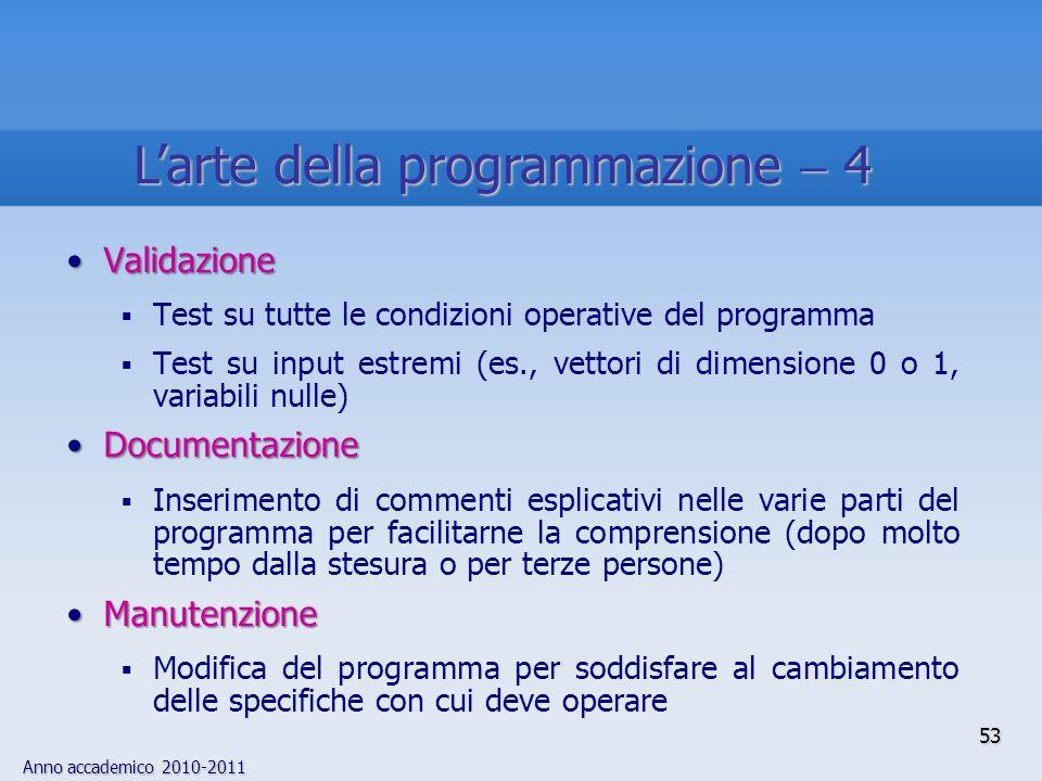 Anno accademico 2010-2011 53 Larte della programmazione 4 ValidazioneValidazione Test su tutte le condizioni operative del programma Test su input est