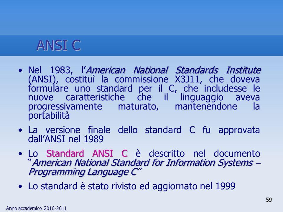 Anno accademico 2010-2011 59 ANSI C American National Standards InstituteNel 1983, lAmerican National Standards Institute (ANSI), costituì la commissi