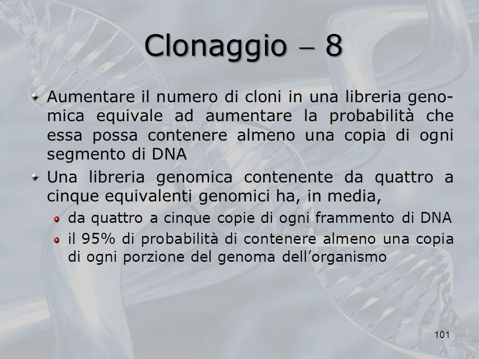 Clonaggio 8 Aumentare il numero di cloni in una libreria geno- mica equivale ad aumentare la probabilità che essa possa contenere almeno una copia di