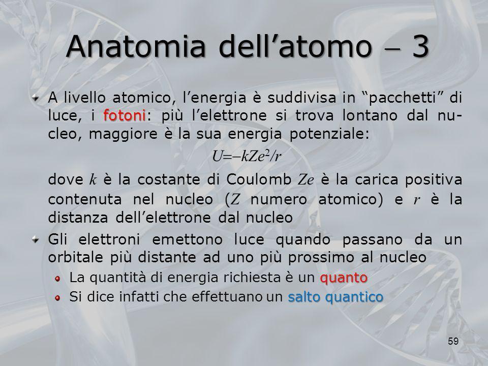 Anatomia dellatomo 3 fotoni A livello atomico, lenergia è suddivisa in pacchetti di luce, i fotoni: più lelettrone si trova lontano dal nu- cleo, magg