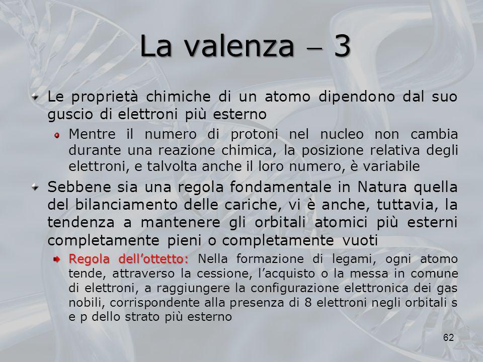 La valenza 3 Le proprietà chimiche di un atomo dipendono dal suo guscio di elettroni più esterno Mentre il numero di protoni nel nucleo non cambia dur