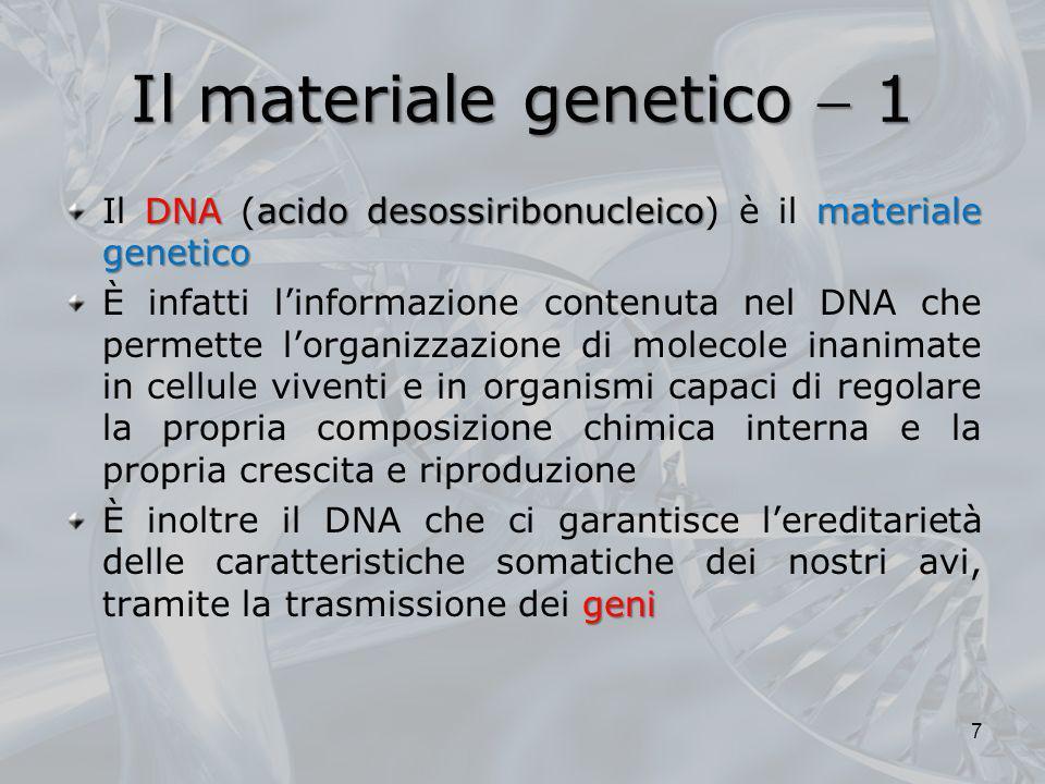 Il materiale genetico 1 DNAacido desossiribonucleicomateriale genetico Il DNA (acido desossiribonucleico) è il materiale genetico È infatti linformazi