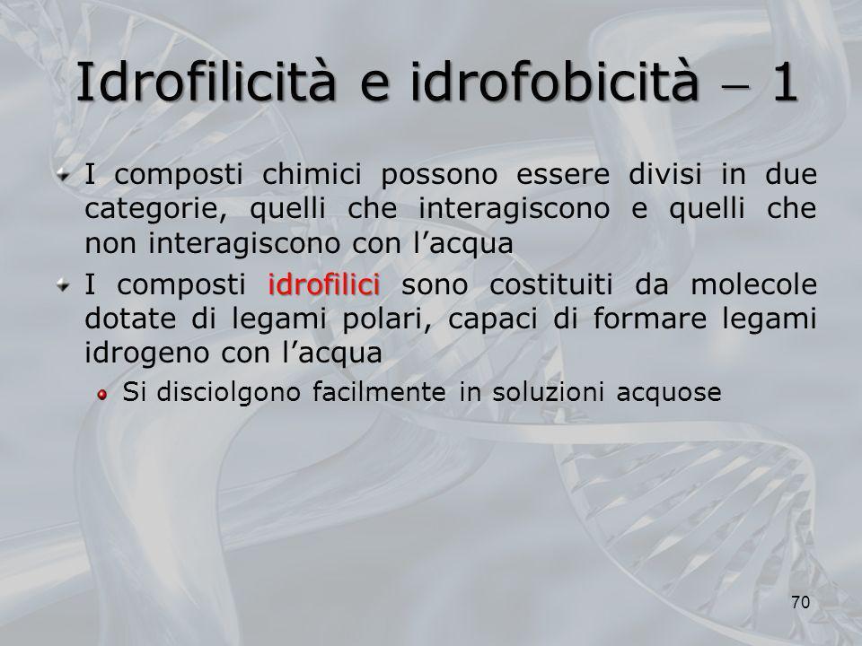 Idrofilicità e idrofobicità 1 I composti chimici possono essere divisi in due categorie, quelli che interagiscono e quelli che non interagiscono con l