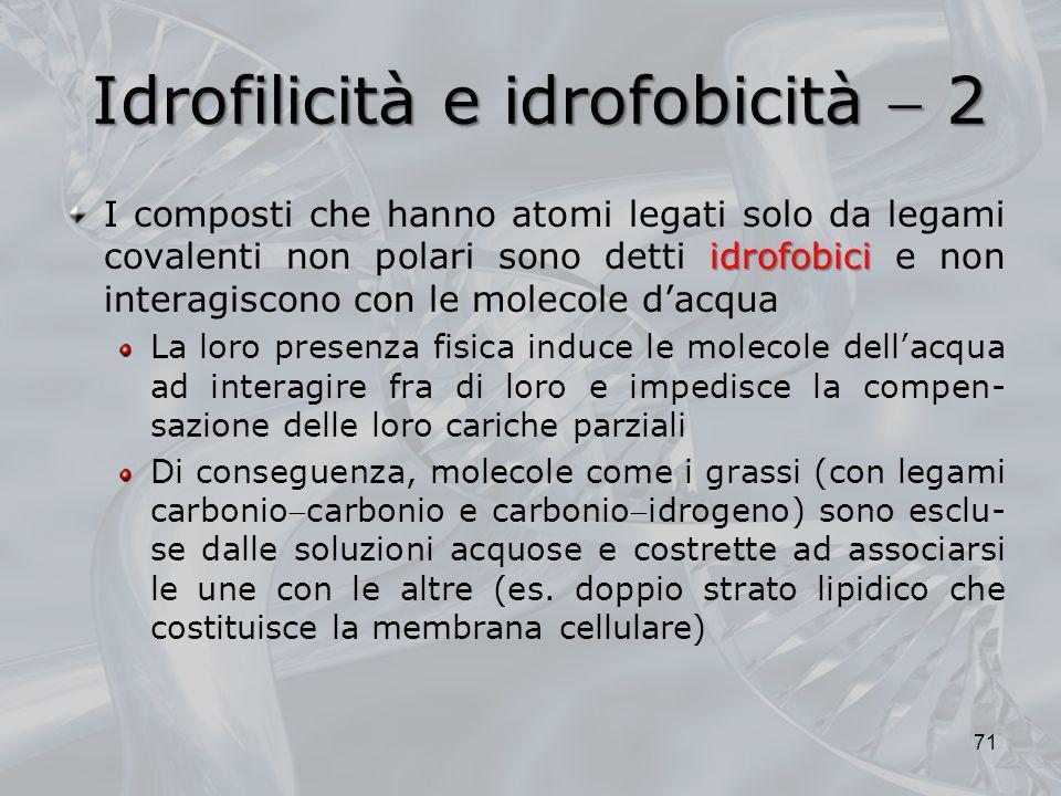 Idrofilicità e idrofobicità 2 idrofobici I composti che hanno atomi legati solo da legami covalenti non polari sono detti idrofobici e non interagisco