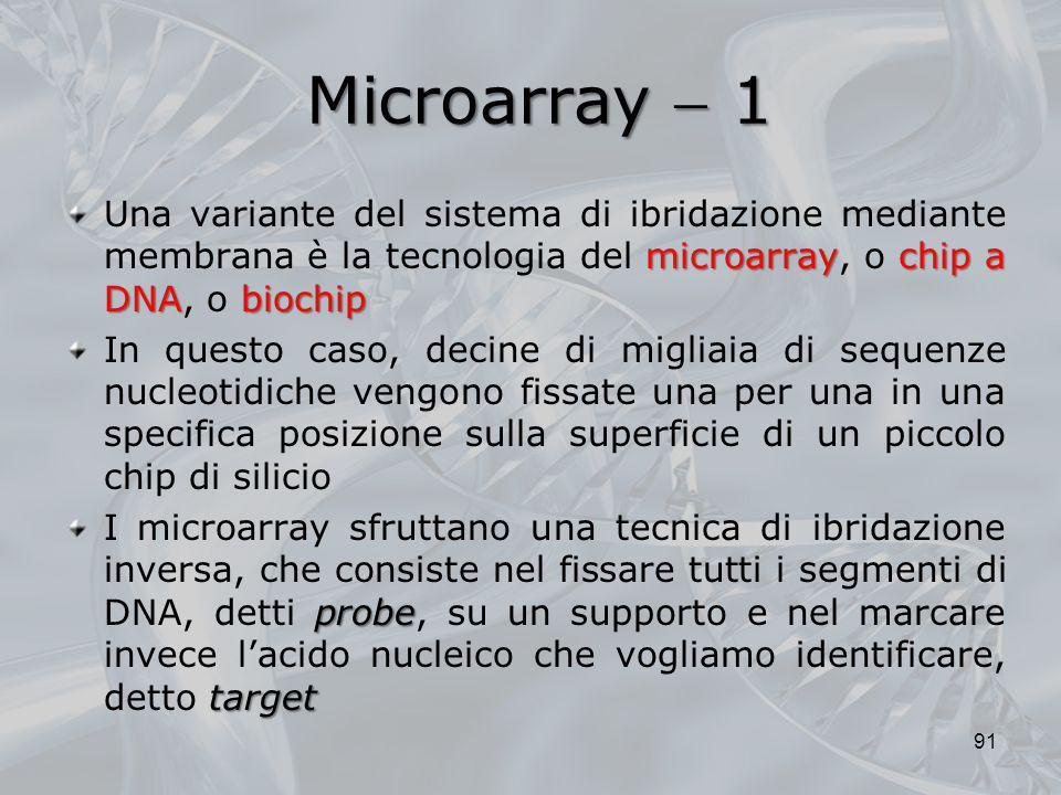 Microarray 1 microarraychip a DNAbiochip Una variante del sistema di ibridazione mediante membrana è la tecnologia del microarray, o chip a DNA, o bio