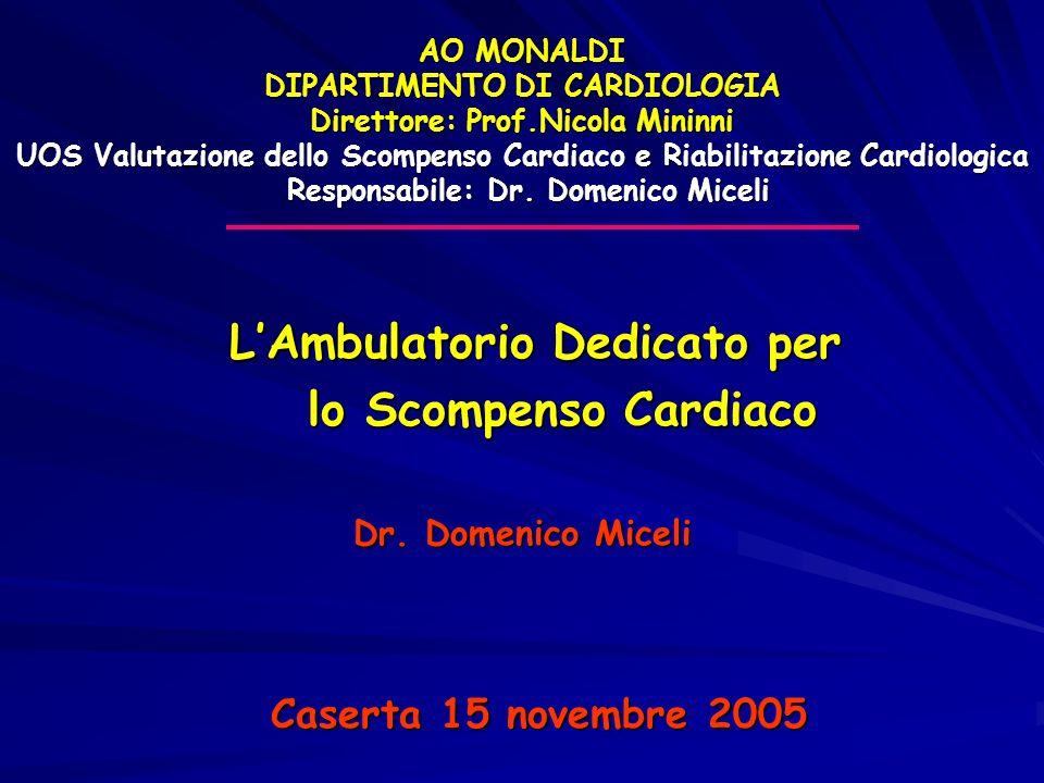 AO MONALDI DIPARTIMENTO DI CARDIOLOGIA Direttore: Prof.Nicola Mininni UOS Valutazione dello Scompenso Cardiaco e Riabilitazione Cardiologica Responsab