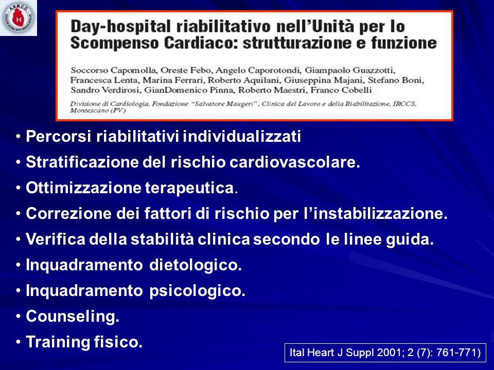 Percorsi riabilitativi individualizzati Stratificazione del rischio cardiovascolare. Ottimizzazione terapeutica. Correzione dei fattori di rischio per