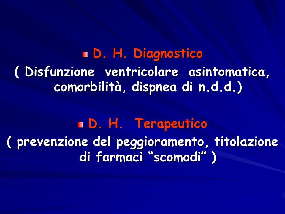 D. H. Diagnostico ( Disfunzione ventricolare asintomatica, comorbilità, dispnea di n.d.d.) D. H. Terapeutico ( prevenzione del peggioramento, titolazi