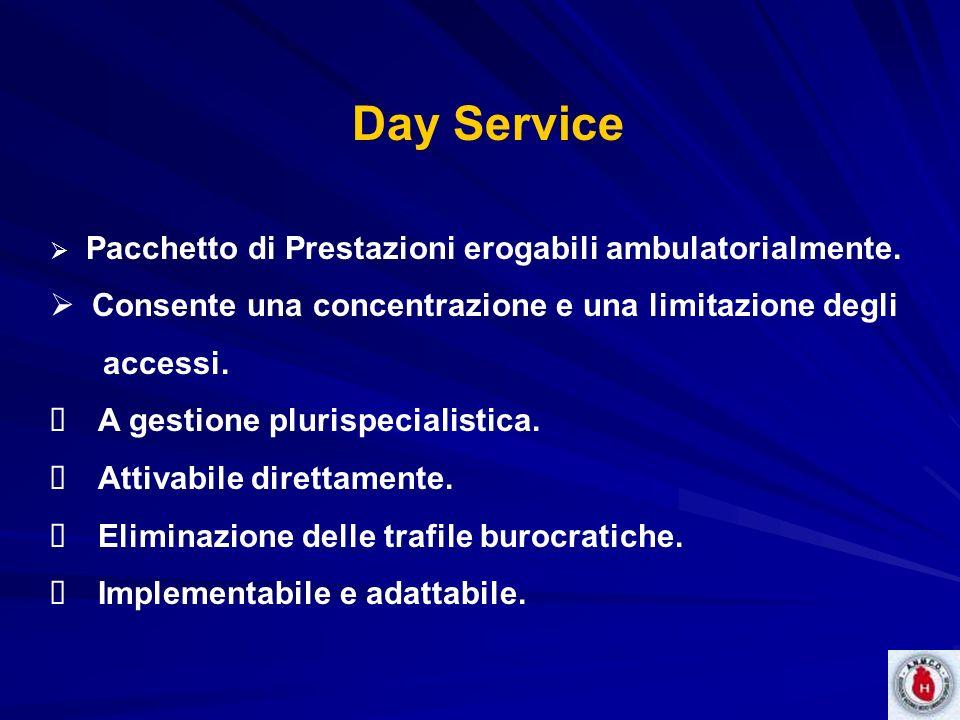 Day Service Pacchetto di Prestazioni erogabili ambulatorialmente. Consente una concentrazione e una limitazione degli accessi. A gestione plurispecial