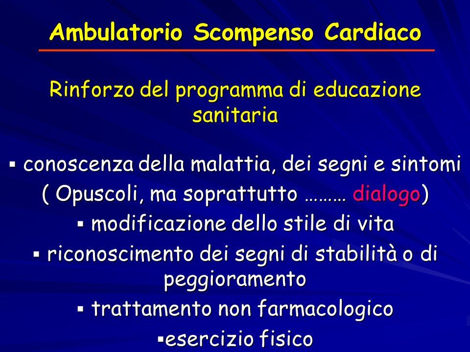 Ambulatorio Scompenso Cardiaco Rinforzo del programma di educazione sanitaria conoscenza della malattia, dei segni e sintomi conoscenza della malattia