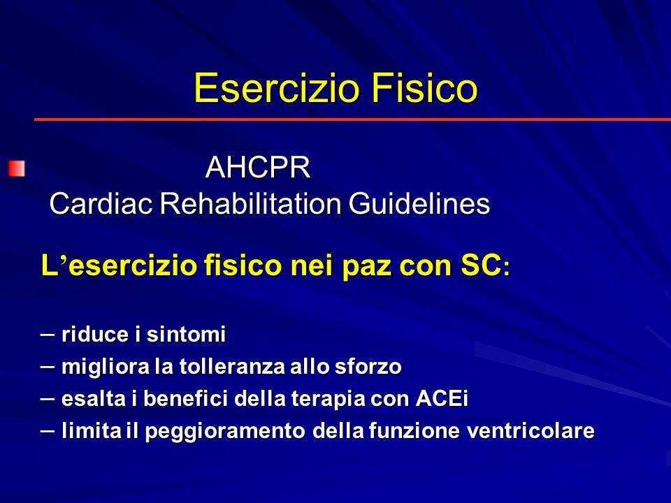 Esercizio Fisico AHCPR Cardiac Rehabilitation Guidelines AHCPR Cardiac Rehabilitation Guidelines L esercizio fisico nei paz con SC : –riduce i sintomi