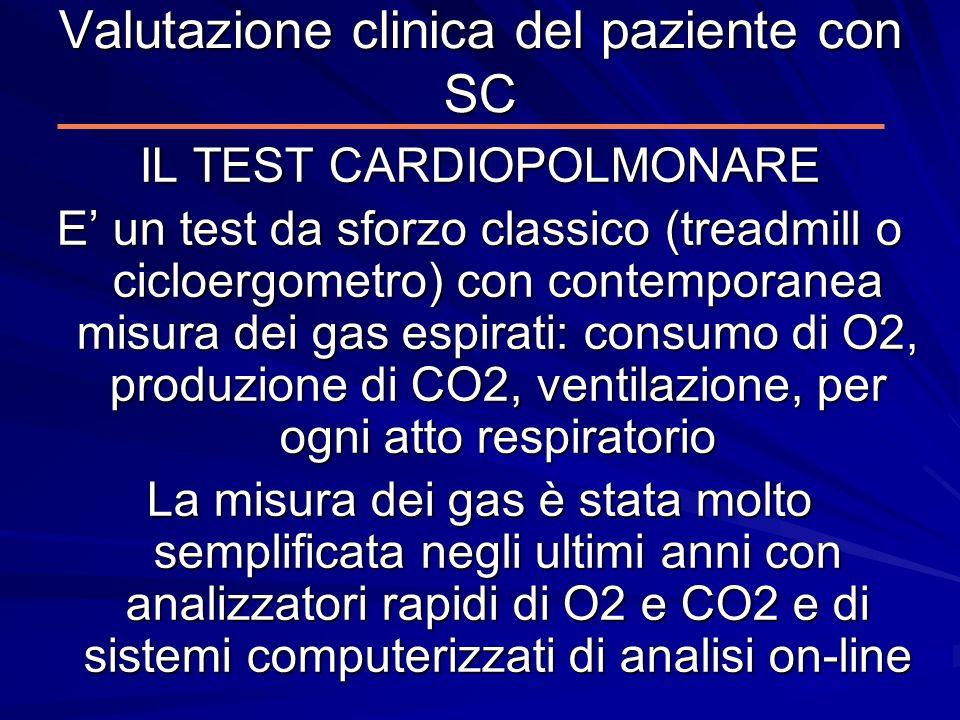 Valutazione clinica del paziente con SC IL TEST CARDIOPOLMONARE E un test da sforzo classico (treadmill o cicloergometro) con contemporanea misura dei
