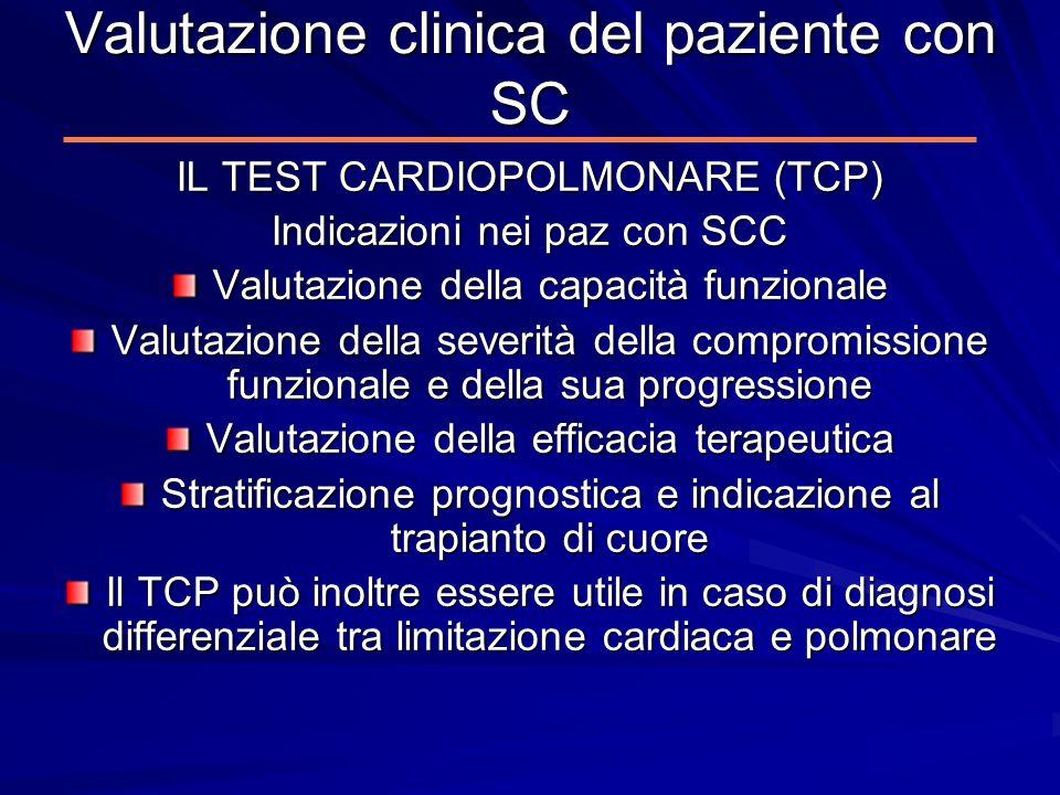 Valutazione clinica del paziente con SC IL TEST CARDIOPOLMONARE (TCP) Indicazioni nei paz con SCC Valutazione della capacità funzionale Valutazione de