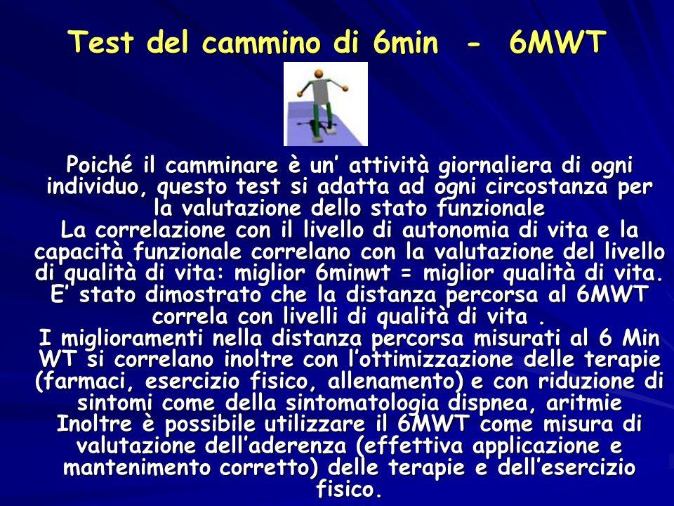 Test del cammino di 6min - 6MWT Poiché il camminare è un attività giornaliera di ogni individuo, questo test si adatta ad ogni circostanza per la valu