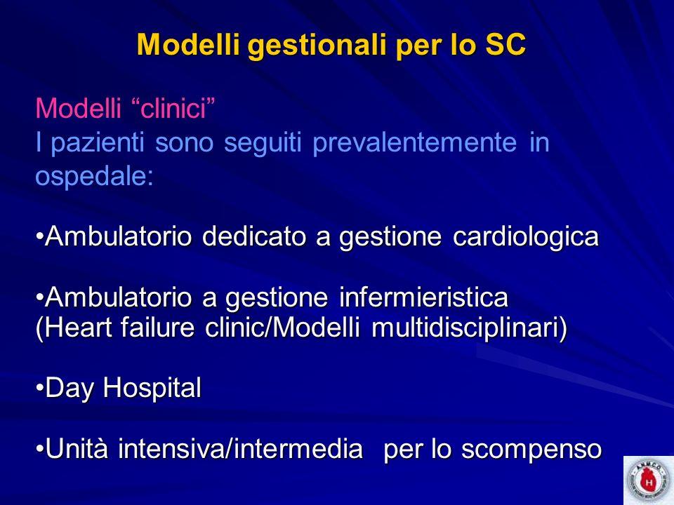 Modelli gestionali per lo SC Modelli clinici I pazienti sono seguiti prevalentemente in ospedale: Ambulatorio dedicato a gestione cardiologicaAmbulato