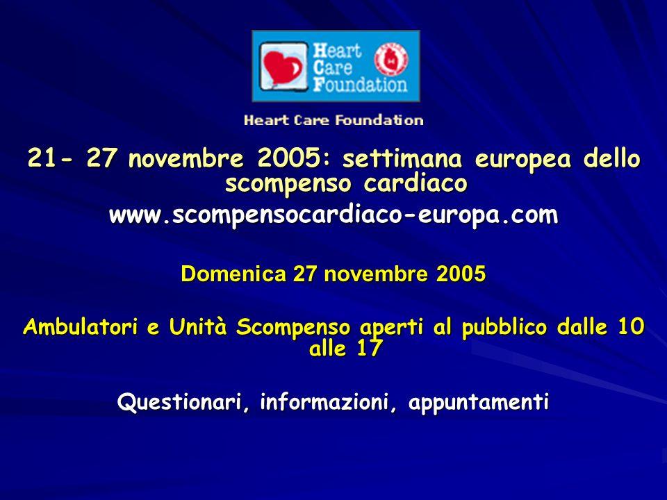 21- 27 novembre 2005: settimana europea dello scompenso cardiaco www.scompensocardiaco-europa.com Domenica 27 novembre 2005 Ambulatori e Unità Scompen