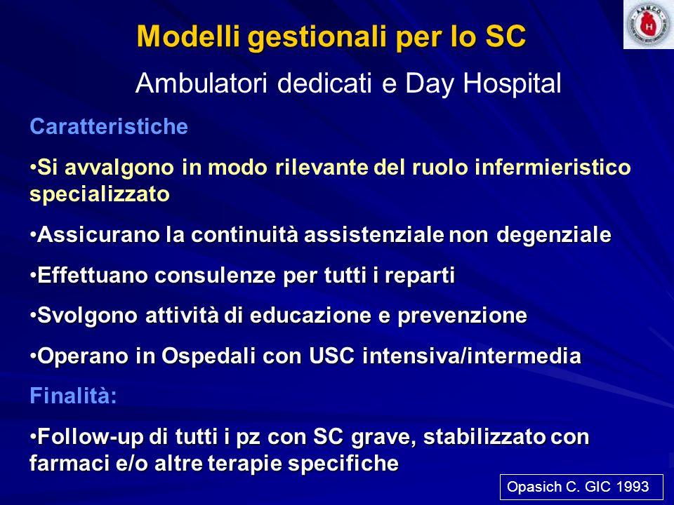 Modelli gestionali per lo SC Ambulatori dedicati e Day Hospital Caratteristiche Si avvalgono in modo rilevante del ruolo infermieristico specializzato