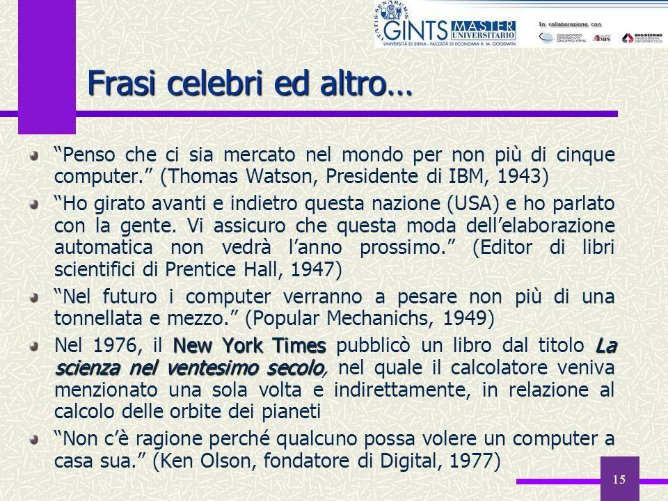 15 Frasi celebri ed altro… Penso che ci sia mercato nel mondo per non più di cinque computer. (Thomas Watson, Presidente di IBM, 1943) Ho girato avant