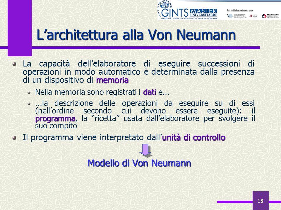 18 Larchitettura alla Von Neumann memoria La capacità dellelaboratore di eseguire successioni di operazioni in modo automatico è determinata dalla pre