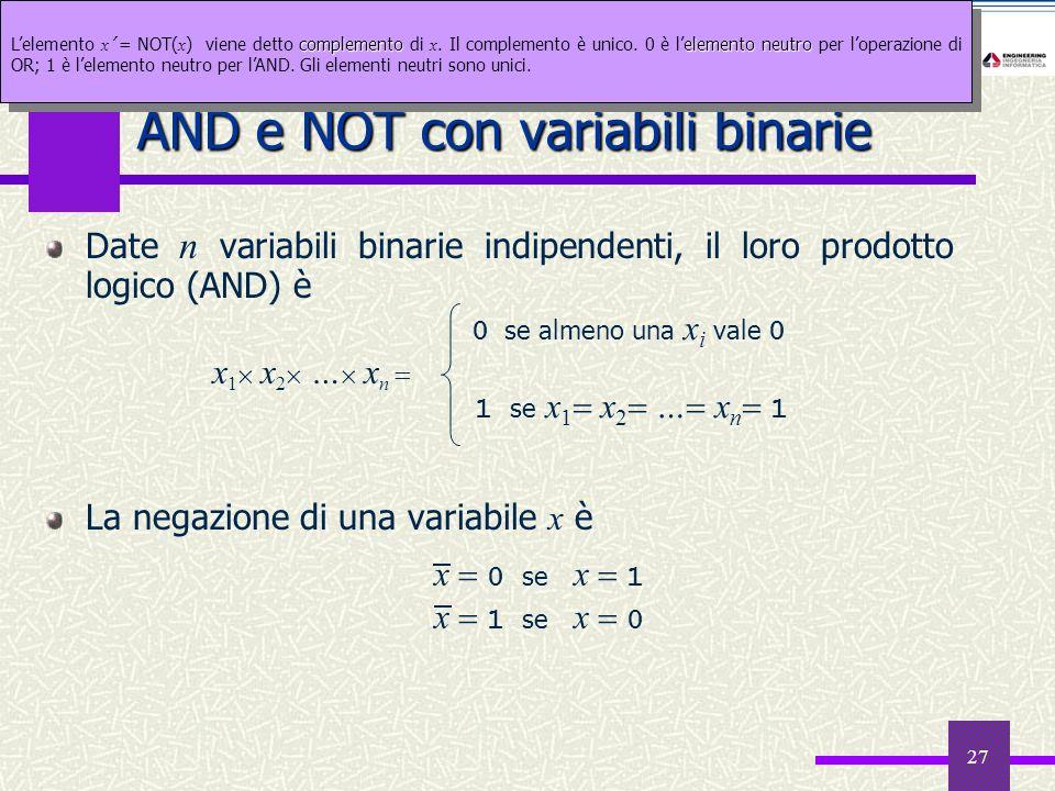 27 Date n variabili binarie indipendenti, il loro prodotto logico (AND) è La negazione di una variabile x è AND e NOT con variabili binarie x 1 x 2 …
