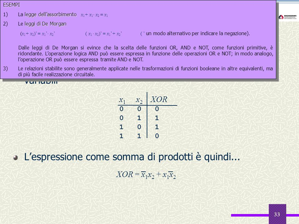 33 Un esempio: lo XOR La funzione XOR verifica la disuguaglianza di due variabili Lespressione come somma di prodotti è quindi... x 1 x 2 XOR 0 0 0 0
