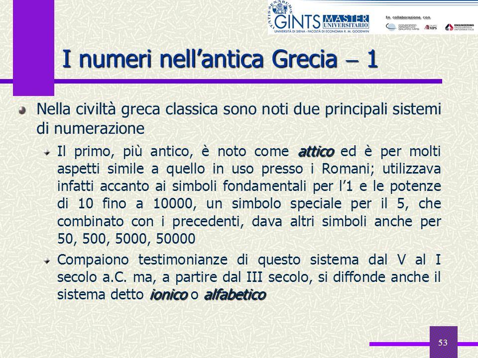 53 I numeri nellantica Grecia 1 Nella civiltà greca classica sono noti due principali sistemi di numerazione attico Il primo, più antico, è noto come