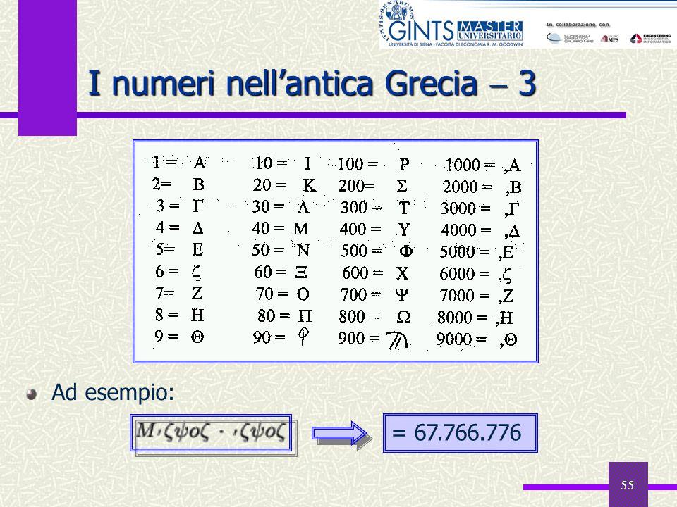 55 I numeri nellantica Grecia 3 Ad esempio: = 67.766.776