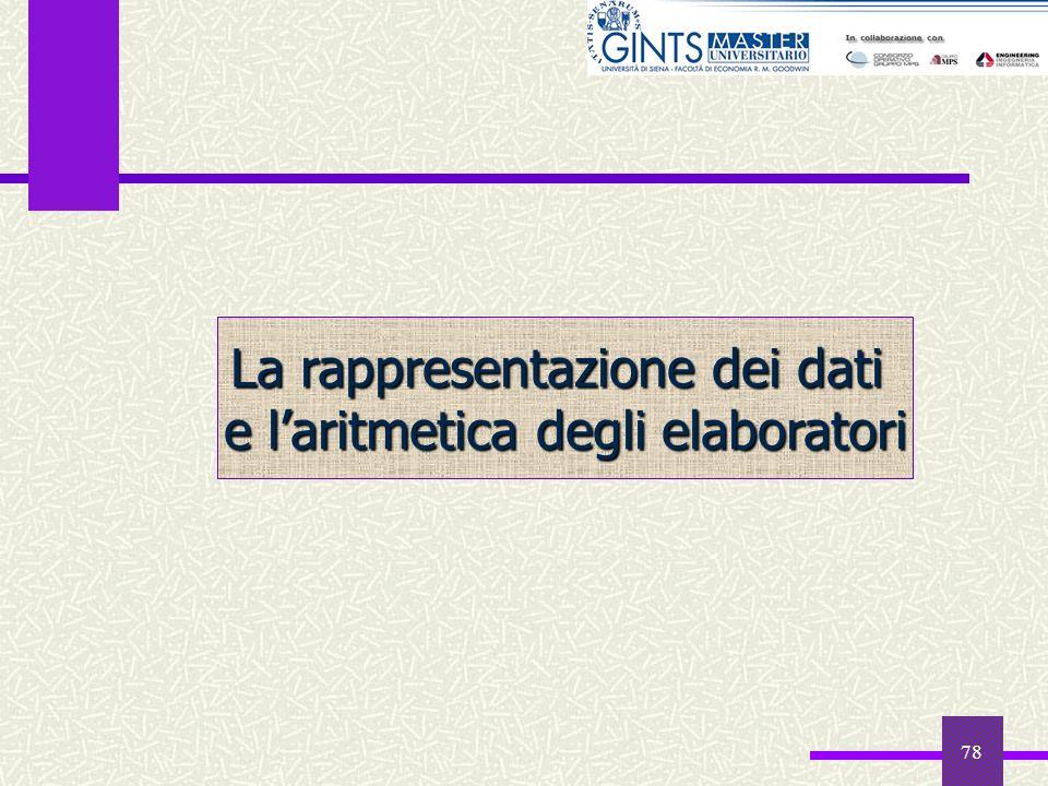 78 La rappresentazione dei dati e laritmetica degli elaboratori
