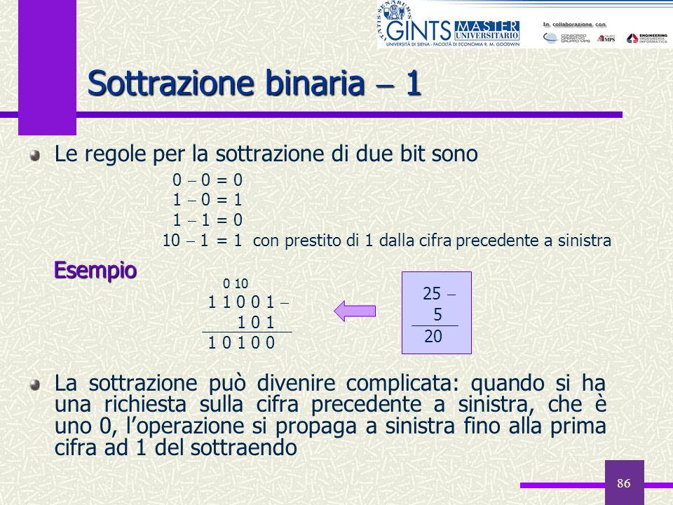 86 Sottrazione binaria 1 Le regole per la sottrazione di due bit sono La sottrazione può divenire complicata: quando si ha una richiesta sulla cifra p