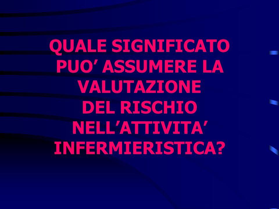 QUALE SIGNIFICATO PUO ASSUMERE LA VALUTAZIONE DEL RISCHIO NELLATTIVITA INFERMIERISTICA?