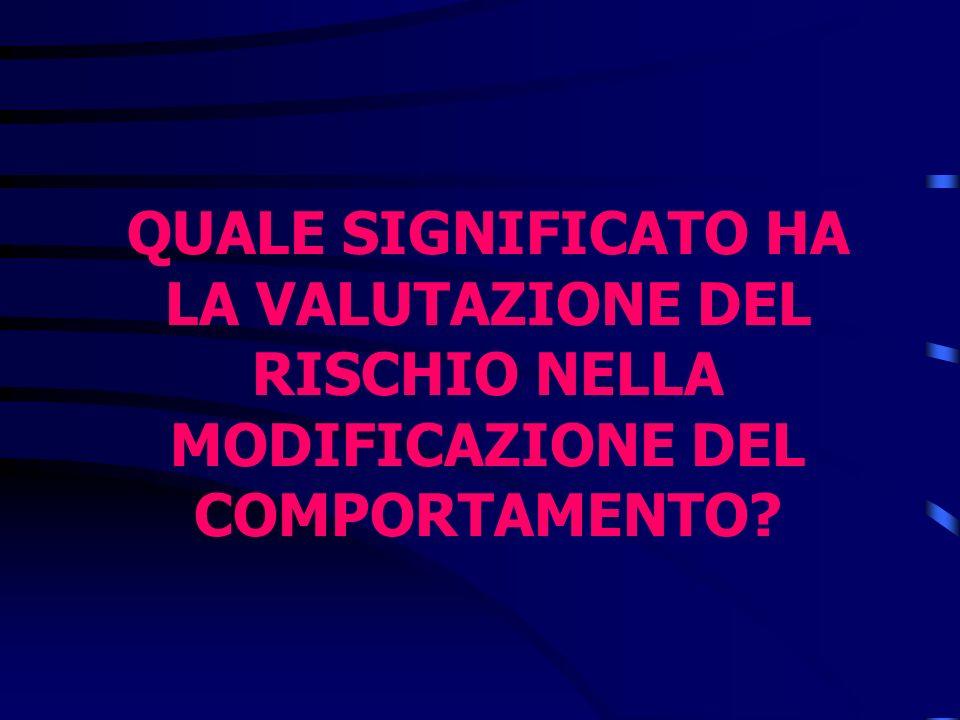 QUALE SIGNIFICATO HA LA VALUTAZIONE DEL RISCHIO NELLA MODIFICAZIONE DEL COMPORTAMENTO?