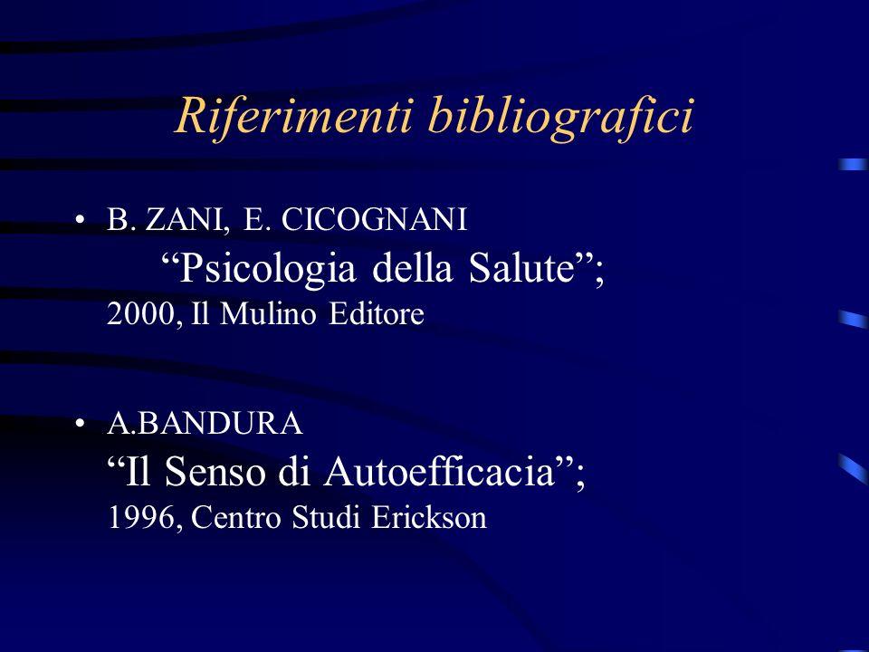 Riferimenti bibliografici B. ZANI, E. CICOGNANI Psicologia della Salute; 2000, Il Mulino Editore A.BANDURA Il Senso di Autoefficacia; 1996, Centro Stu
