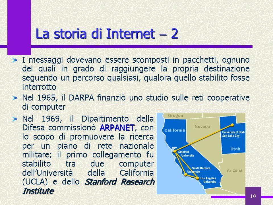 9 La storia diInternet 1 La storia di Internet 1 Internet è la rete telematica più grande del mondo, per estensione geografica e per numero di utenti